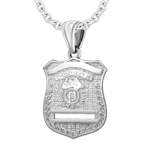 Police Badge Necklace In Silver - 2.5mm Cable Chain