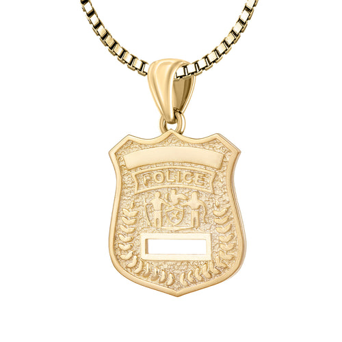 Police Badge Necklace In Gold For Ladies - 2.2mm Box Chain