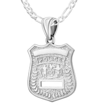 Ladies 925 Sterling Silver Customizable Police Badge Pendant Necklace, 22mm