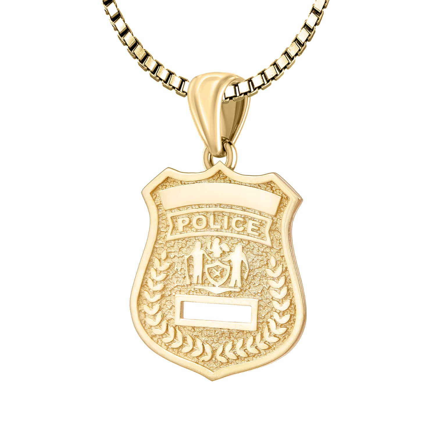 Police Badge Necklace In 14K Gold - 2.2mm Box Chain