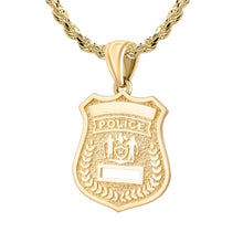 Police Badge Necklace In 14K Gold - 2.5mm Rope Chain