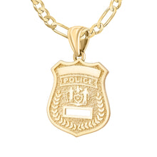 Police Badge Necklace In 14K Gold - 2.8mm Figaro Chain