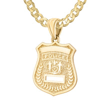 Police Badge Necklace In 14K Gold - 3.6mm Curb Chain