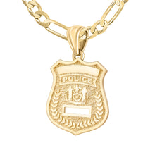 Police Badge Necklace In 14K Gold - 3.8mm Figaro Chain