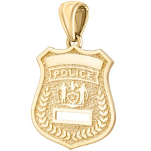 Police Badge Necklace In 14K Gold - Pendant Only