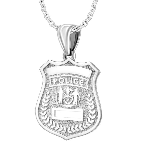Silver Police Badge Necklace For Women - 1.2mm Cable Chain
