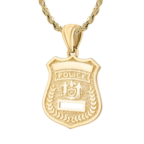 Gold Police Badge Necklace With Chain - 2.5mm Rope Chain
