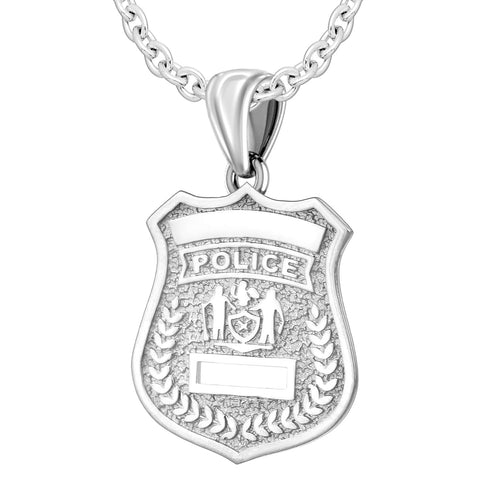 Police Badge Necklace In 925 Silver - 2.5mm Cable Chain