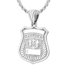 Police Badge Necklace In 925 Silver - 2.5mm Rope Chain