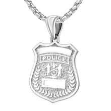 Police Badge Necklace In 925 Silver - 2.6mm Box Chain