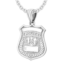 Police Badge Necklace In 925 Silver - 2mm Cable Chain