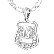Police Badge Necklace In 925 Silver - 3.6mm Figaro Chain