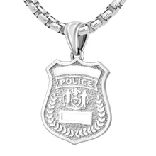 Police Badge Necklace In 925 Silver - 3.7mm Box Chain