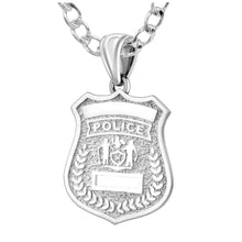 Police Badge Necklace In 925 Silver - 3mm Rounded Curb Chain