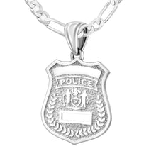 Police Badge Necklace In 925 Silver - 3mm Figaro Chain
