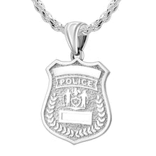 Police Badge Necklace In 925 Silver - 3mm Rope Chain