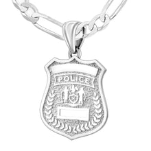 Police Badge Necklace In 925 Silver - 4.5mm Figaro Chain