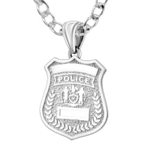 Police Badge Necklace In 925 Silver - 4mm Rounded Curb Chain