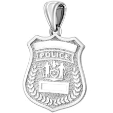 Police Badge Necklace In 925 Silver - Without Chain