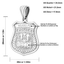 Police Badge Necklace In 925 Silver - Size Details