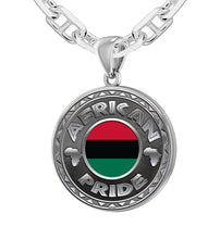 Men's 925 Sterling Silver African Pride Medal Pendant Necklace with Flag, 25mm