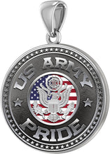 Men's 925 Sterling Silver US Army Pride Medal Pendant Necklace, 33mm