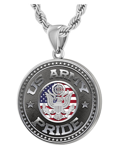 US Army Pendant Necklace For Men In Silver - 3mm Rope Chain