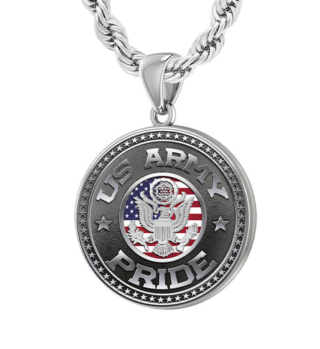 Men's 925 Sterling Silver US Army Pride Medal Pendant Necklace, 25mm