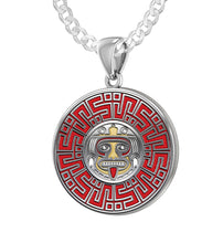 Aztec Mesoamerican Pride Medal - Sterling Silver Pendant Chain