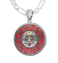 Aztec Mesoamerican Pride Medal - Sterling Silver Figaro Chain