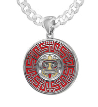 Aztec Mesoamerican Pride Medal - Sterling Silver Curb Chain