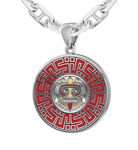 Silver Aztec Mesoamerican Pride Medal Pendant Necklace, 25mm
