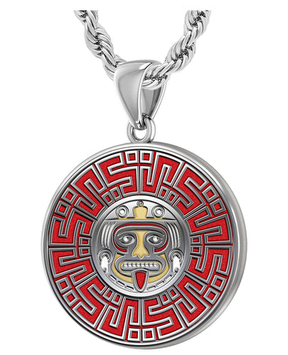 Aztec Pendant For Men In 925 Silver - 3mm Rope Chain