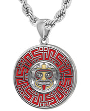 Aztec Pendant For Men In 925 Silver - 4.4mm Rope Chain
