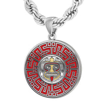 Men's 925 Sterling Silver Aztec Mesoamerican Pride Medal Pendant Necklace, 25mm