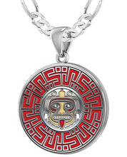 Aztec Pendant For Men In 925 Silver - 4mm Figaro Chain