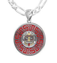 Sterling Silver Aztec Mesoamerican Pride Medal Pendant Necklace