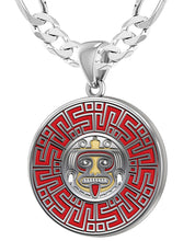 Aztec Pendant For Men In 925 Silver - 6mm Figaro Chain