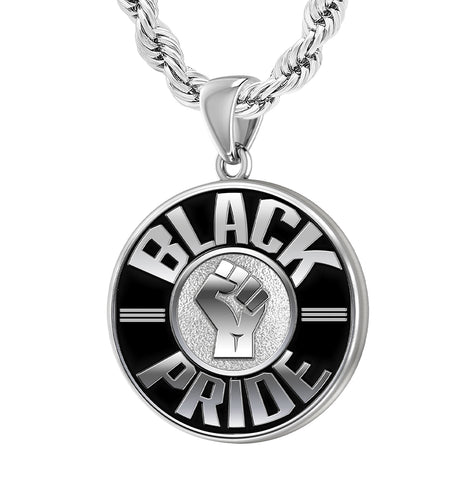 Black Pride Necklace Of Silver For Men - 2.2mm Rope Chain