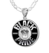 Men's 925 Sterling Silver Black Pride Medal Pendant Necklace, 25mm