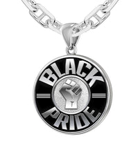 Black Pride Necklace Of Silver For Men - 3.8mm Marine Chain