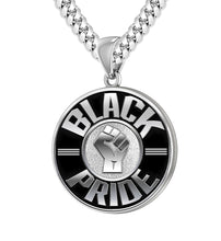 Black Pride Necklace Of Silver For Men - 4.1mm Miami Chain