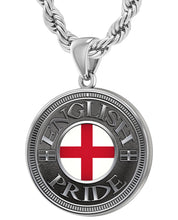 English Pendant For Men With Flag - 4.4mm Rope Chain