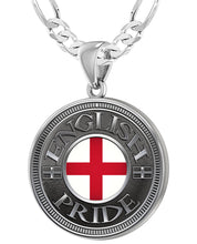 English Pendant For Men With Flag - 4mm Figaro Chain