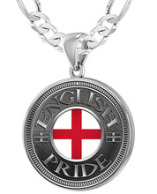 English Pendant For Men With Flag - 5.2mm Figaro Chain