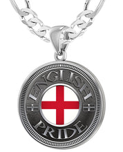 English Pendant For Men With Flag - 6mm Figaro Chain
