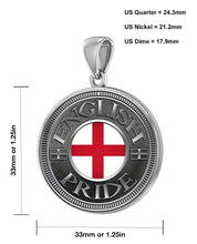English Pendant For Men With Flag - Size Description