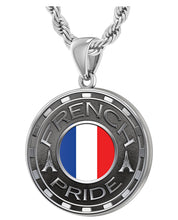French Necklace For Men With Flag - 3mm Rope Chain