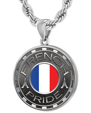 French Necklace For Men With Flag - 4.4mm Rope Chain