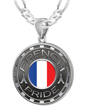 French Necklace For Men With Flag - 4mm Figaro Chain